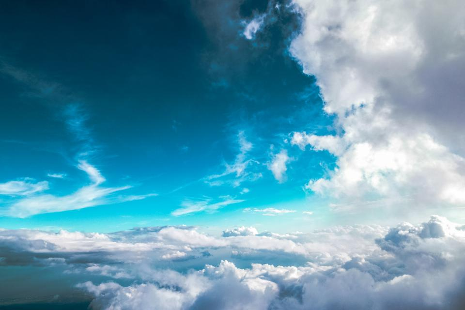 blue sky clouds sunshine aerial view nature