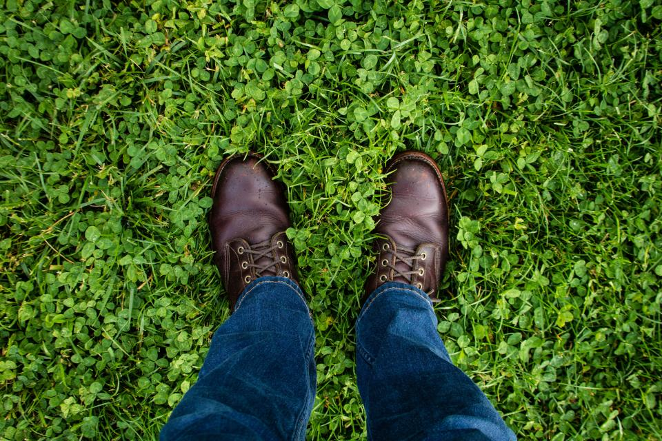 green grass jeans denim leather shoe travel