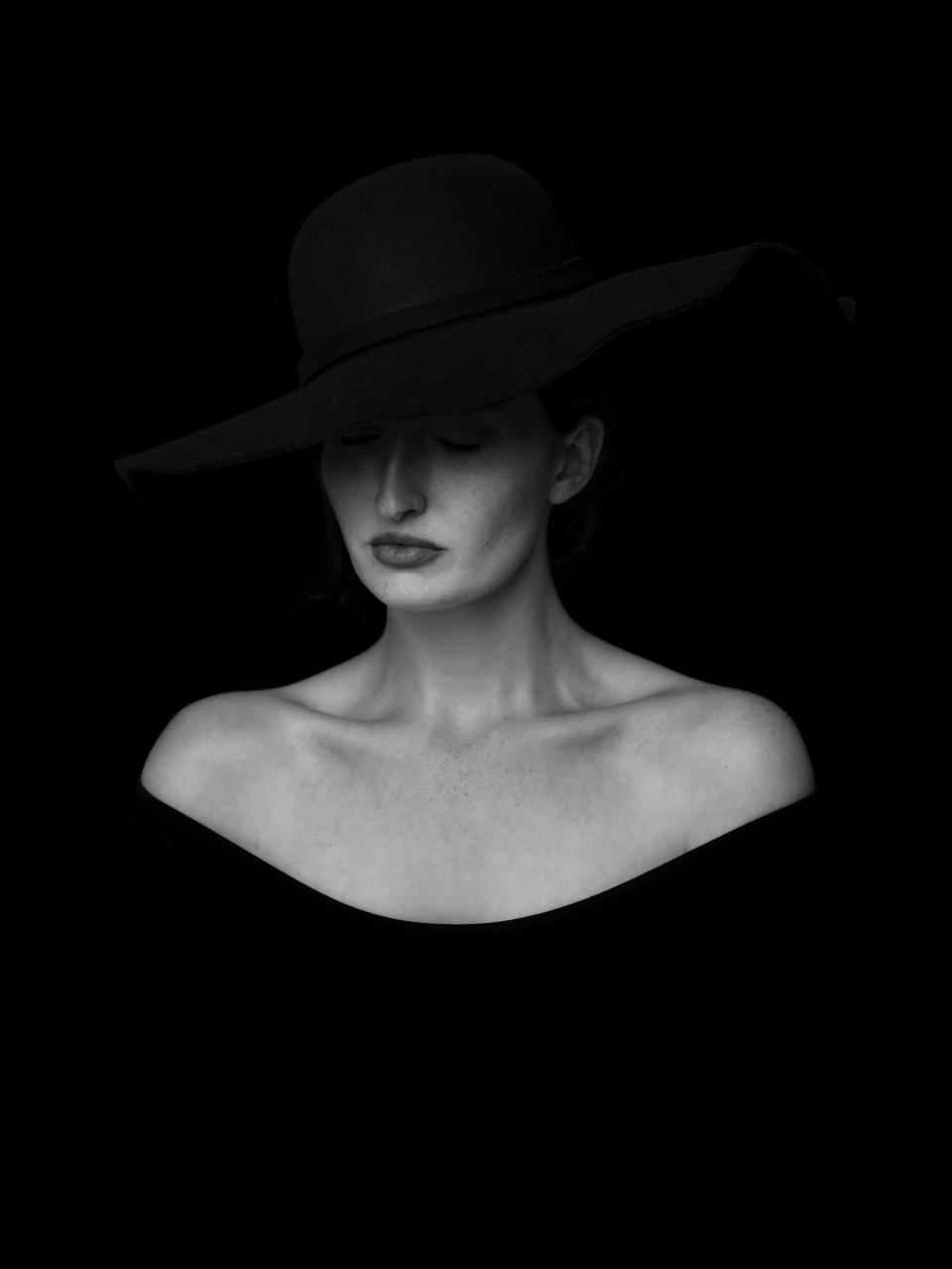 black and white monochrome people woman lady girl female model hat