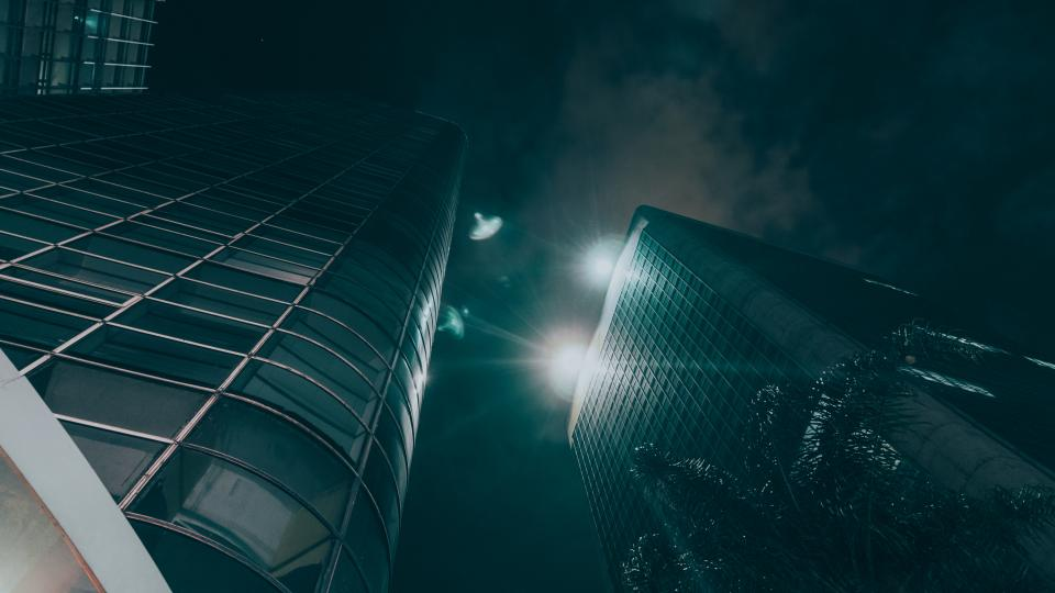 dark night architecture building hotel establishment office work light glass window