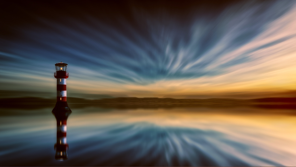 lighthouse dramatic sky sunrise sunset clouds dark red whie stripes seawater ocaen safety scenic panorama