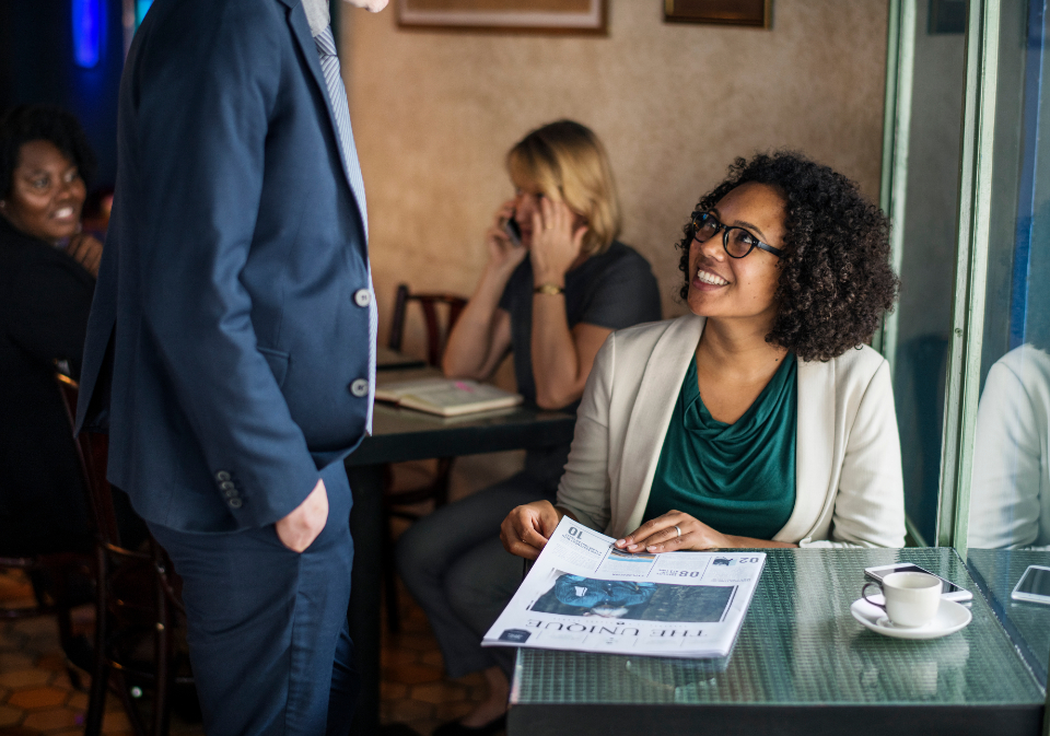 african american breakfast business businessman businesswoman busy casual checking coffee coffee cup couple daily news date dating economical excited financial glasses global happy lunch break man meeting news