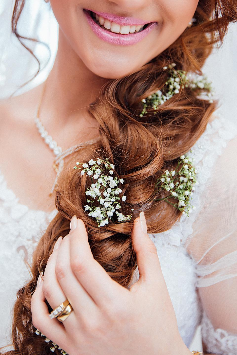 people woman girl bride wedding dress white gown hairstyle makeup beauty ring smile happy