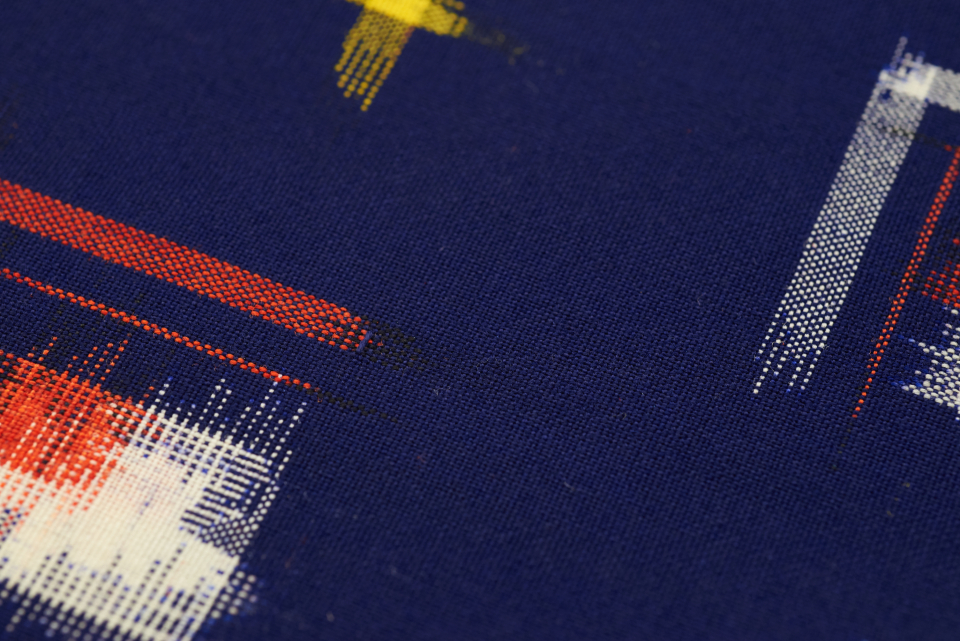 line pattern print modern fabric texture cloth weave closeup threads woven textile background material macro blue design