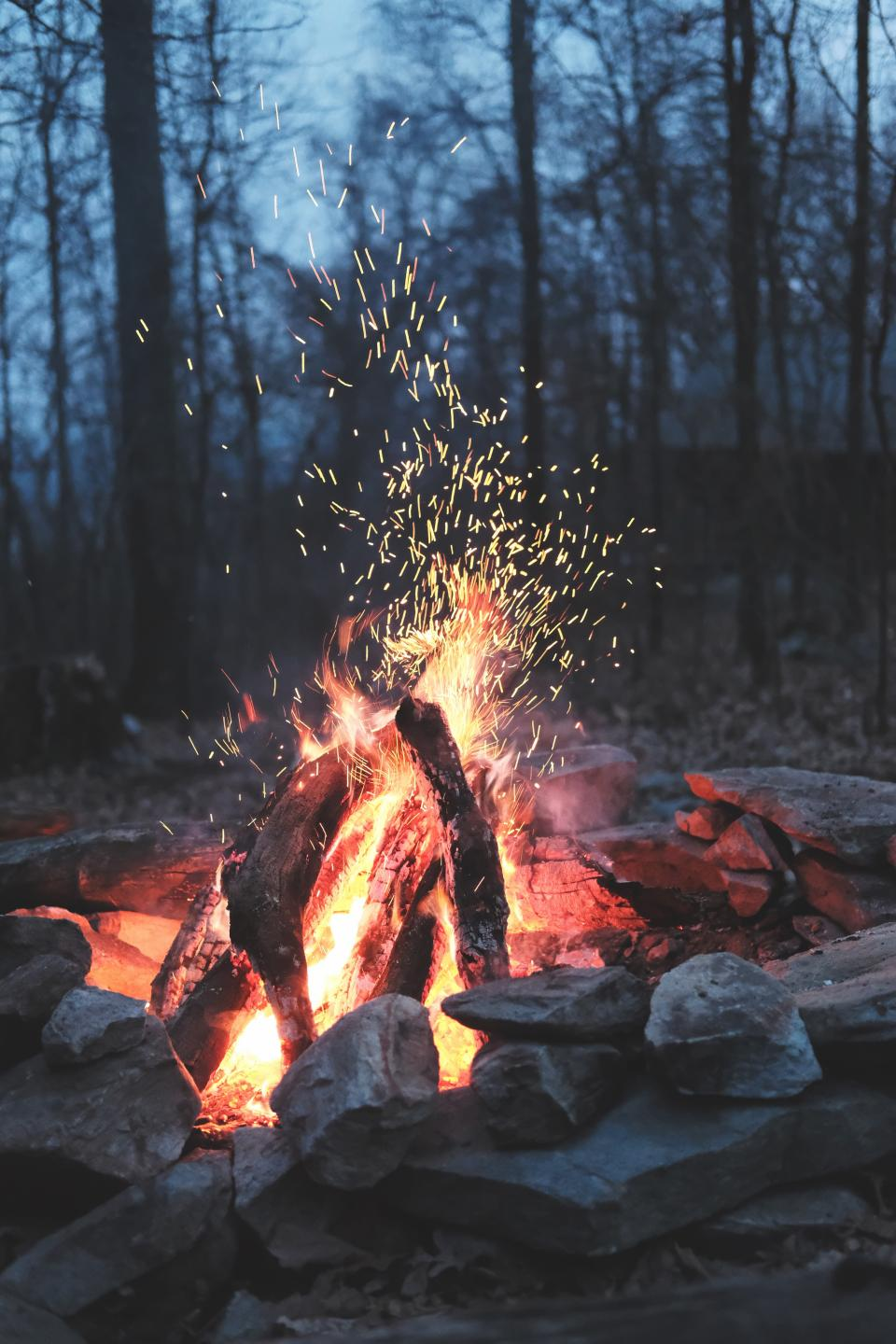 nature fire bonfire camp outdoor woods forest spark stone wood