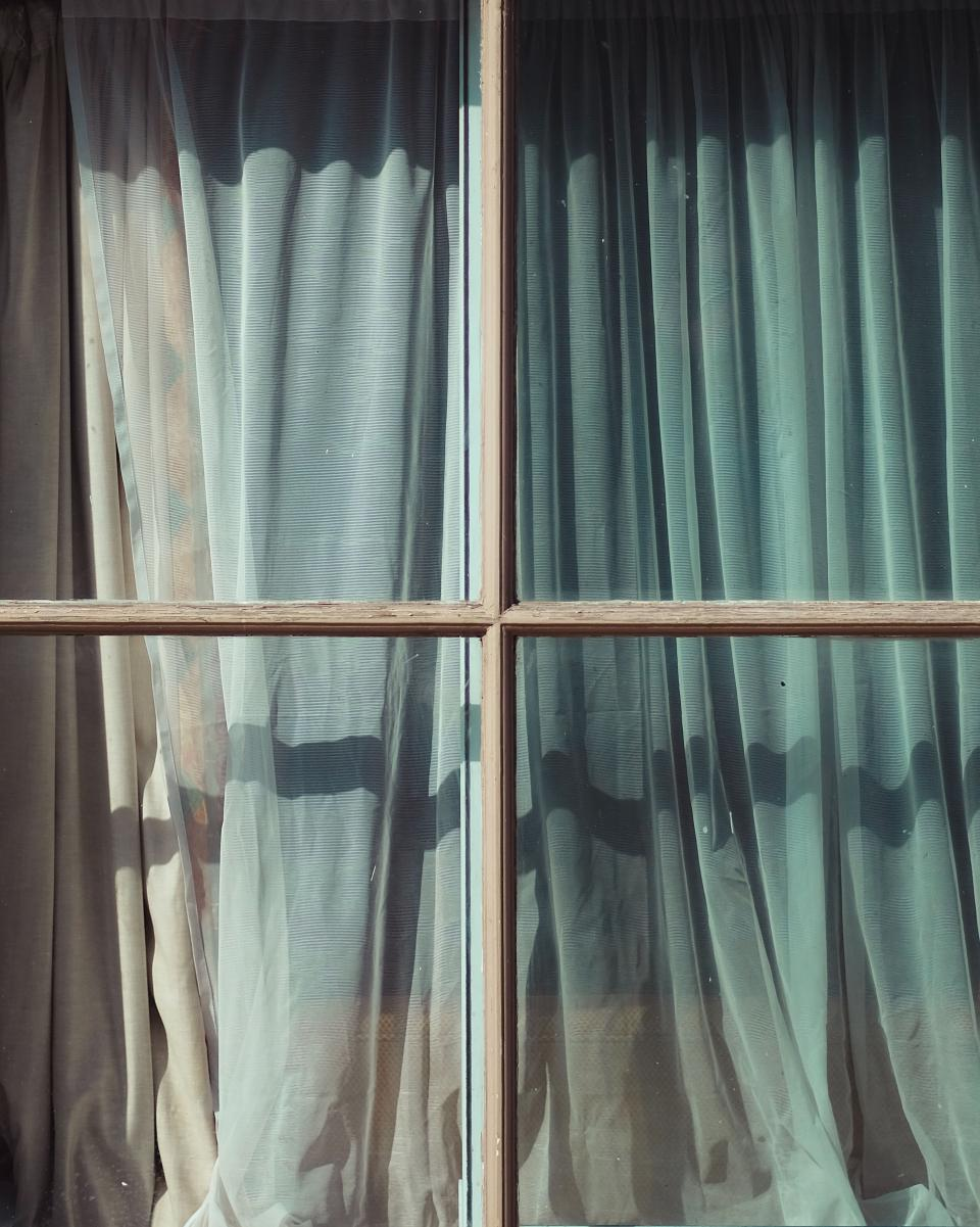 window glass morning sunny day curtain