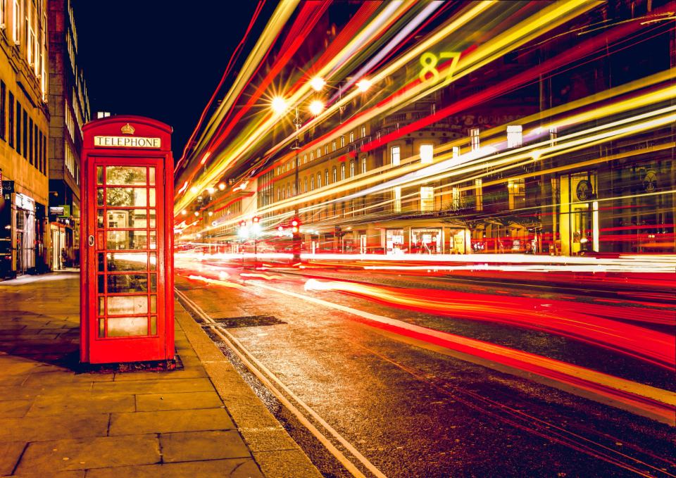 london telephone booth long exposure night traffic england uk phone booth long exposure