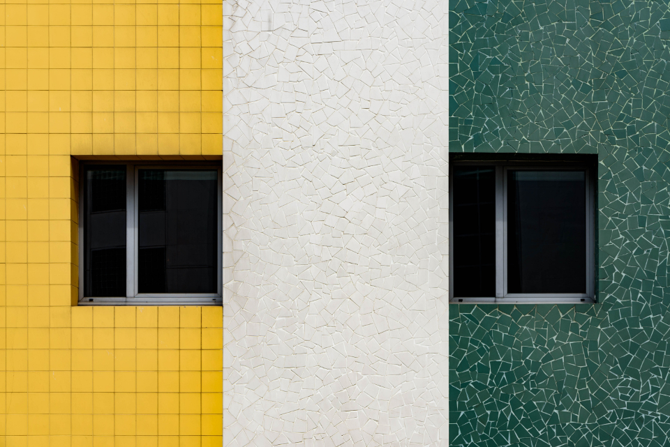 building wall symmetry windows texture pattern exterior urban creative design architecture city colorful