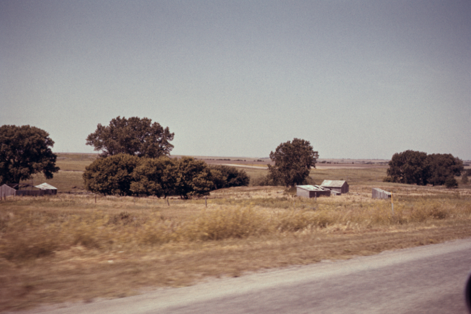 countryside barn field road trees sky rustic old grass asphault highway vintage film photography landscape