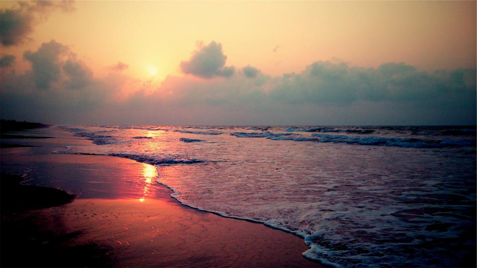 sunrise beach dawn waves sand ocean sea water