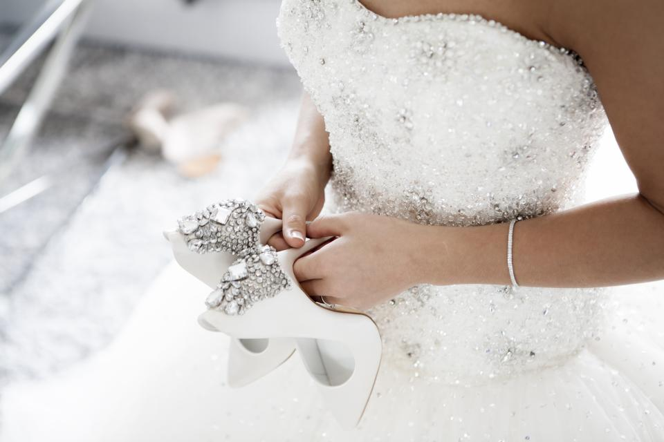 wedding marriage bride gown white shoes people woman