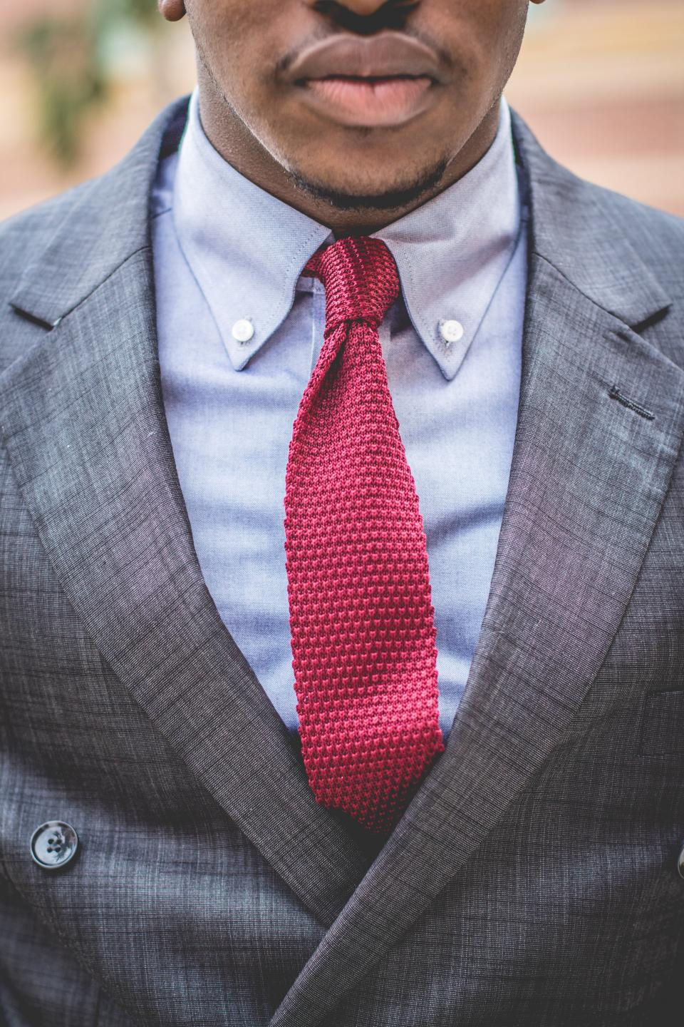 guy man fashion clothing suit necktie red grey african american bokeh