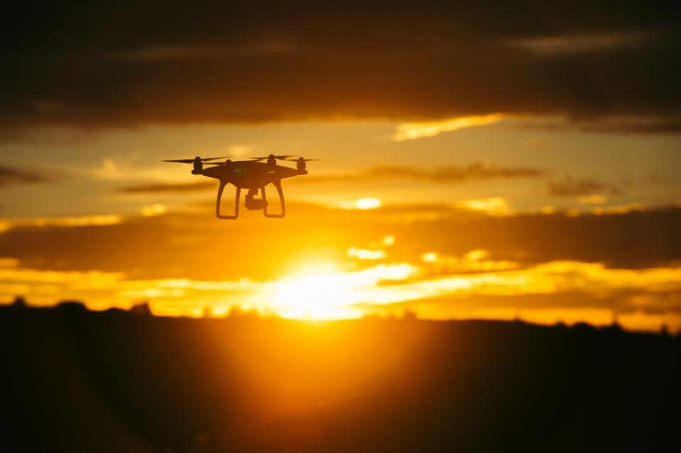 mountain sky clouds nature drone sunset view aerial technology
