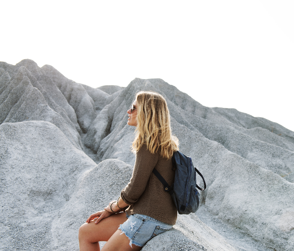 chill enjoyment freedom girl hiking hobby holiday leisure mountain nature outdoors peace peaceful person rest serene sitting tourism travel traveling trekking vacation walking woman young people backpack sunshine sunglasses
