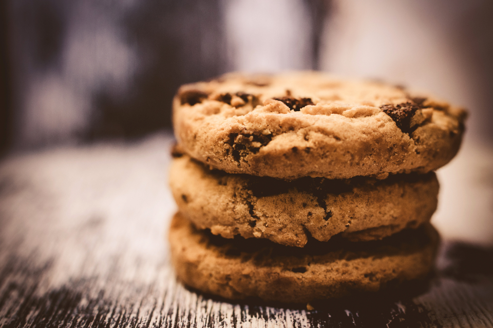 Stack Chocolate Chip Cookies Wood Table Food Biscuit Cookie Tasty Dessert Treat