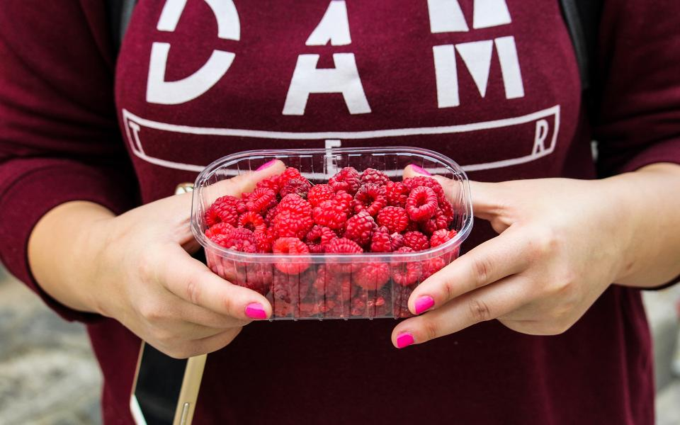 raspberries fruits container hands food healthy