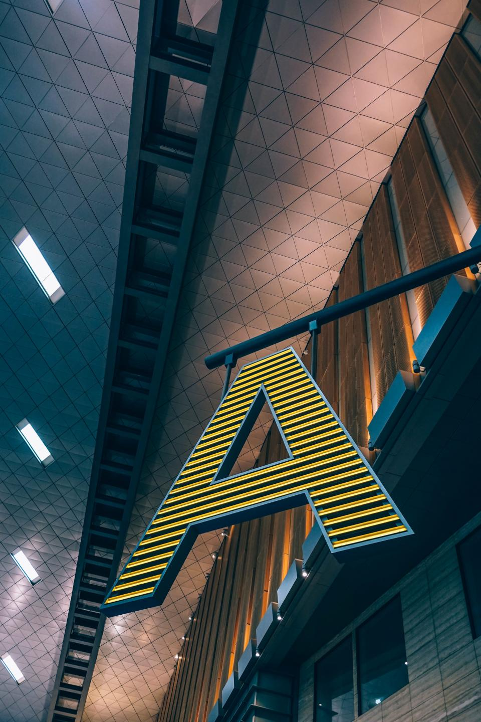 architecture airport building ceiling letter font design lights