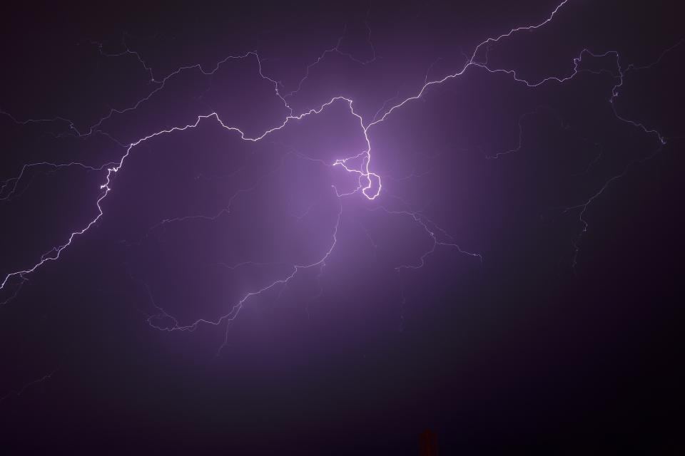 sky clouds dark night lightning light violet energy