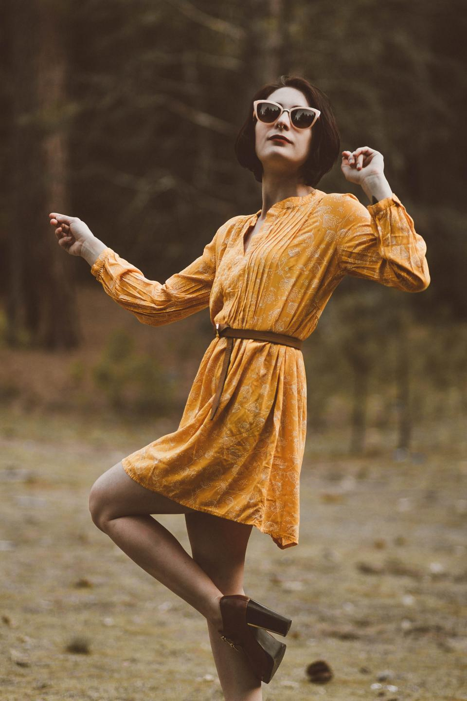 people woman fashion yellow dress nature woods forest shades