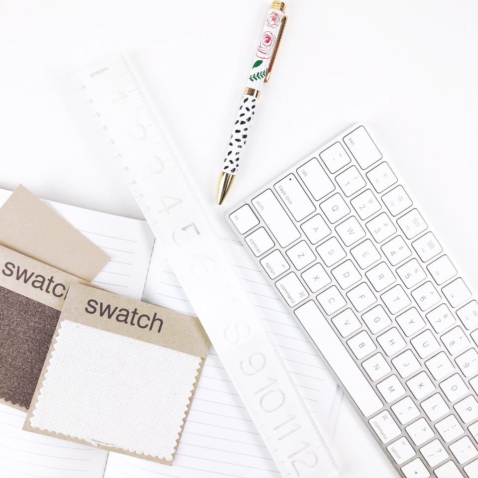 flat lay desk keyboard white simple minimal elegant pen swatch creative design top ruler objects
