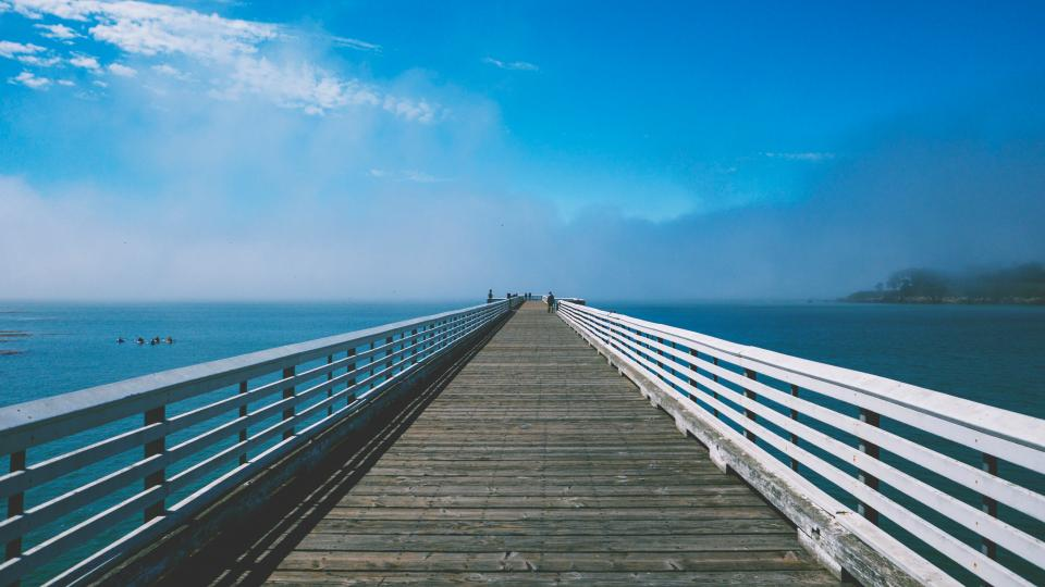 pier dock blue sky ocean sea lake water landscape nature summer sunny sunshine foggy