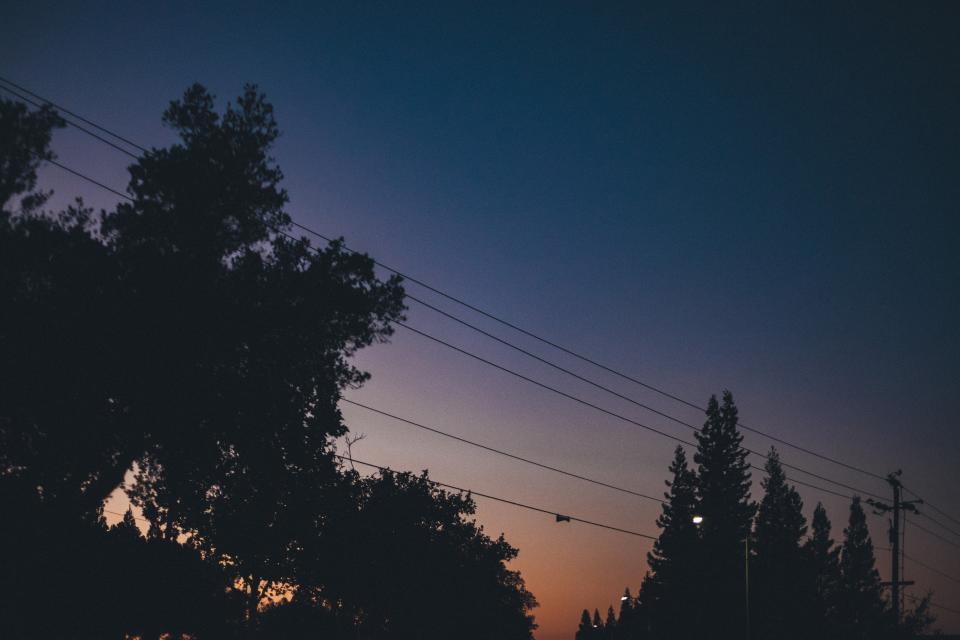 sunset dusk sky night dark evening trees power lines silhouette shadows street lights lamp posts
