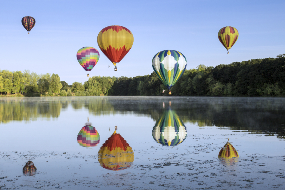 hot air ballons colorful sky flight reflections water lake journey outdoors activity adventure