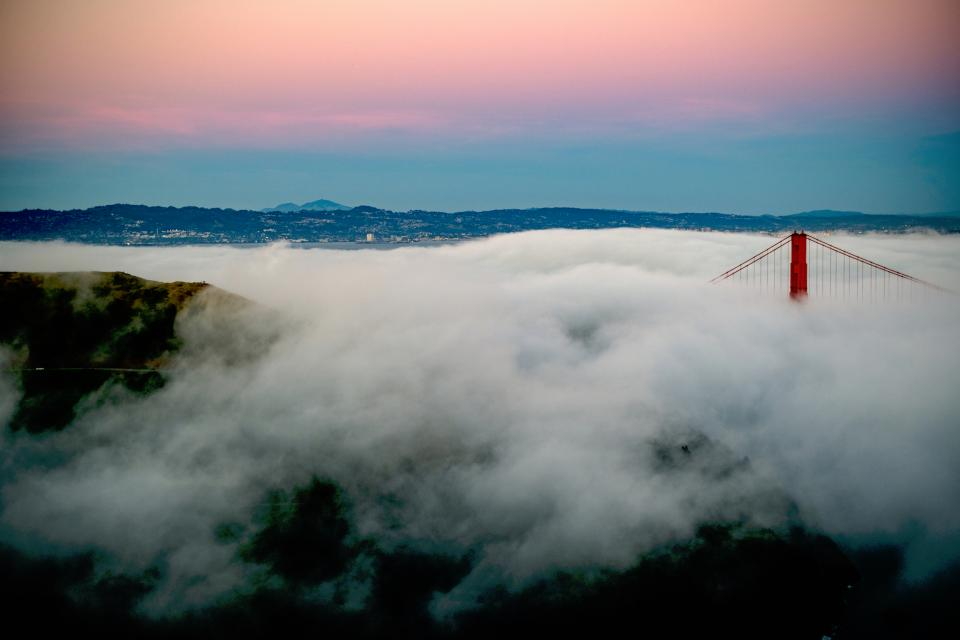 bridge clouds smoke fog haze sky