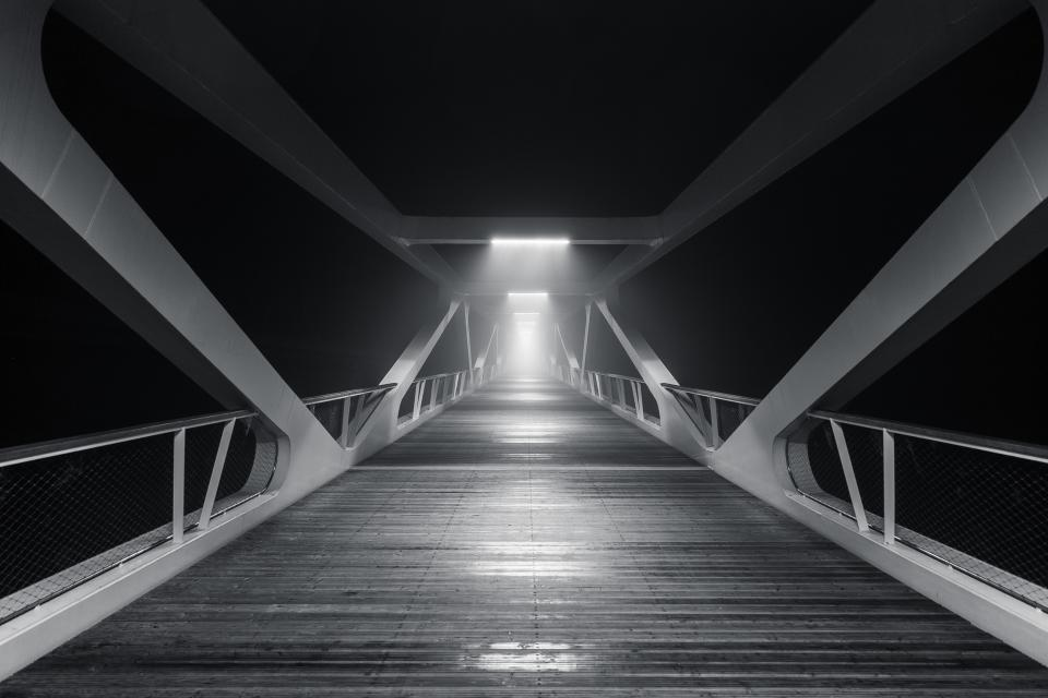 bridge wood architecture lights dark night evening black and white