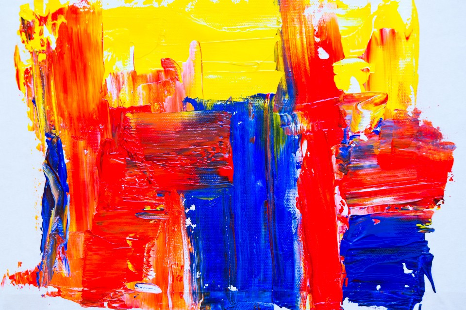 bright abstract painting background colorful art artist creative design paint paintbrush acrylic canvas red blue yellow
