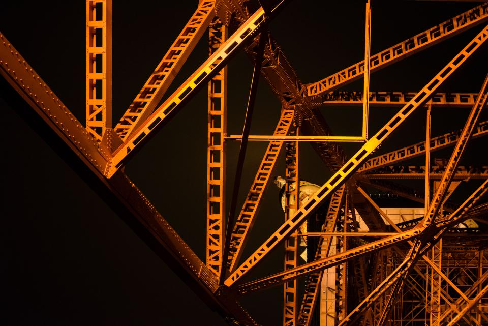 architecture tower steel metal structure landmark night
