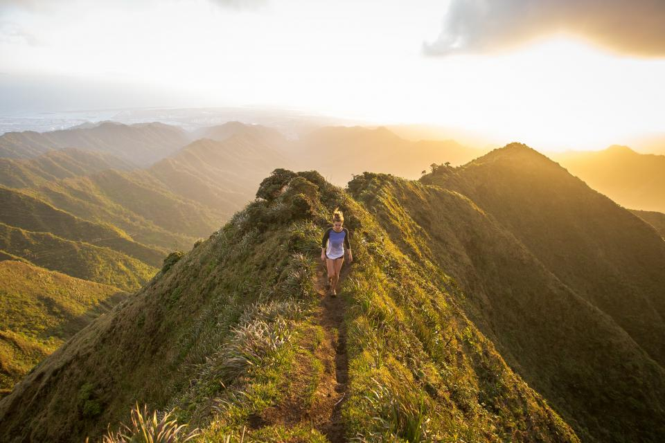 people girl woman highland mountain green grass ridge sky cloud sunlight path sunrise morning