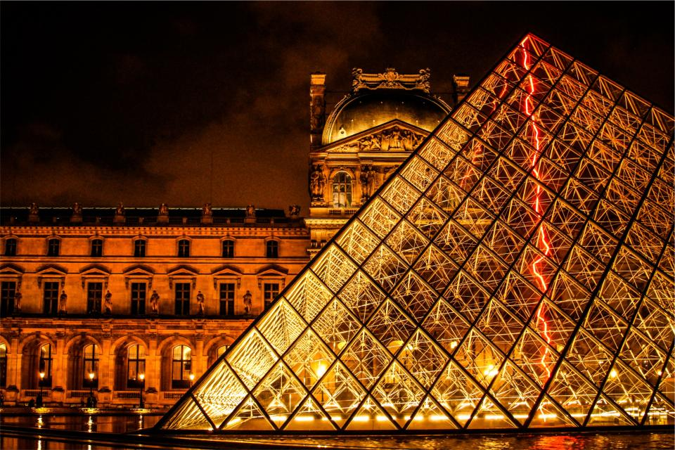 The Louvre Paris France architecture art gallery museum buildings dark night lights