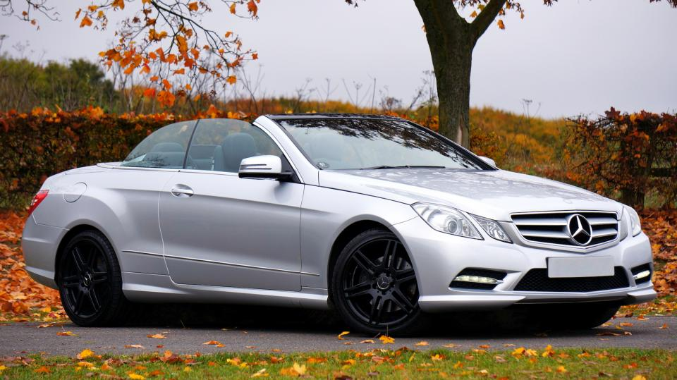 car vehicle luxury silver mercedes benz convertible