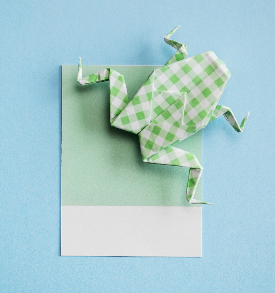 art background blue bright card close up colorful concept craft creativity cute decoration decorative design folded folded paper frog green handicraft handmade isolated lay flat letter micro mint object origami paper