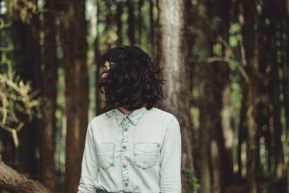 woman girl lady people stand hair flip fashion style forest trees still bokeh