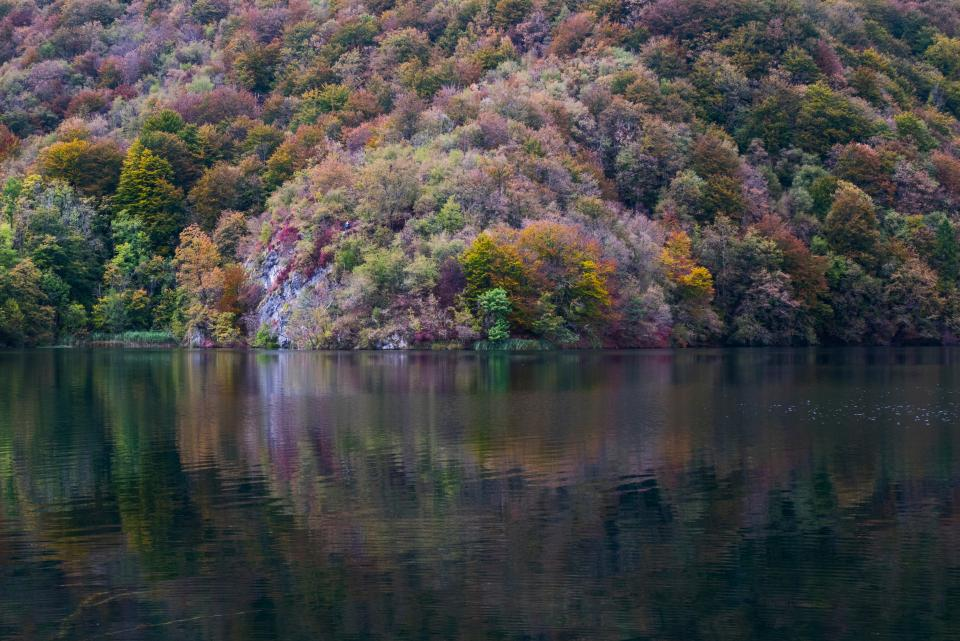 lake water nature mountain landscape trees plants grass autumn fall reflection