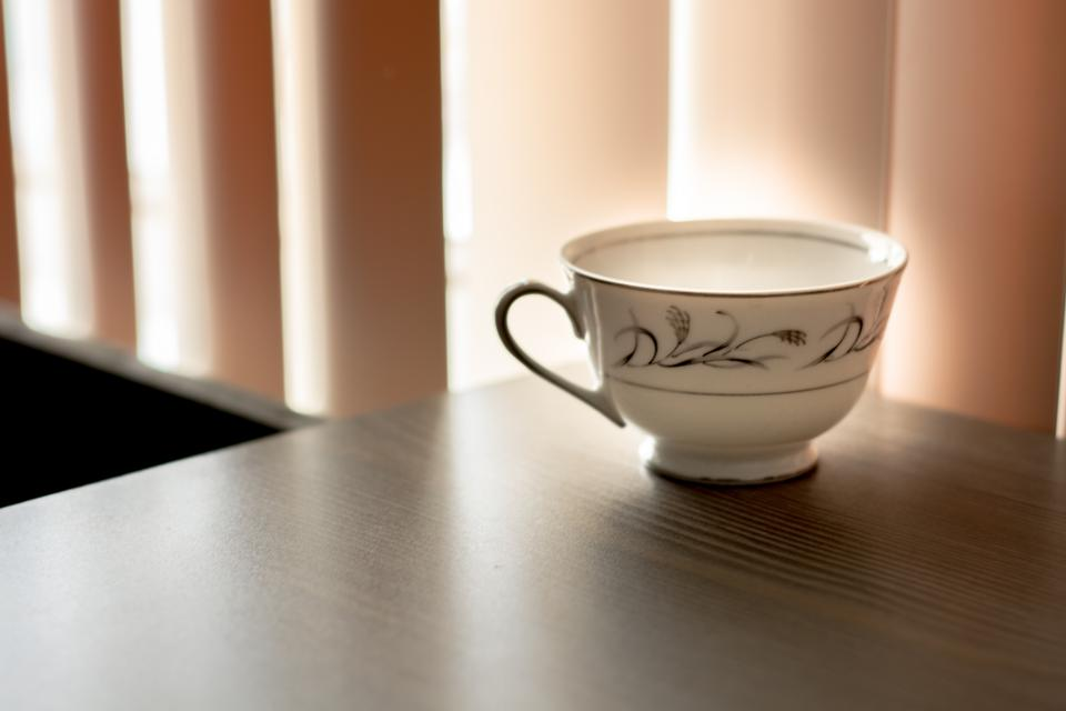 teacup ceramic table room curtain light