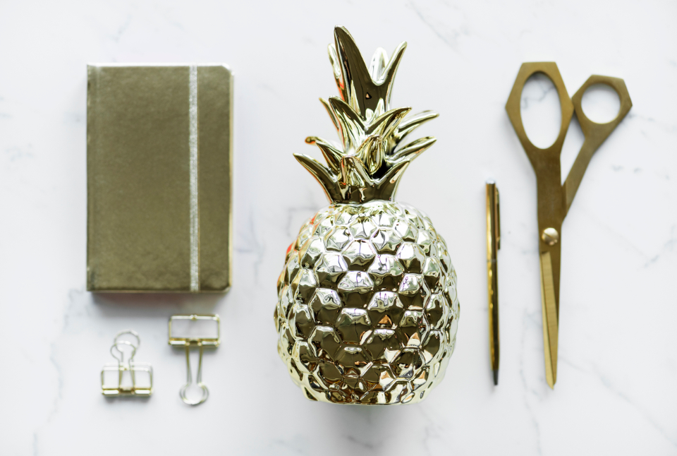 decor diary feminine flat lay flatlay girly gold golden journal marble name notebook notepad paper clip pen pencil pineapple scissors stationery table tags texture utensil writer