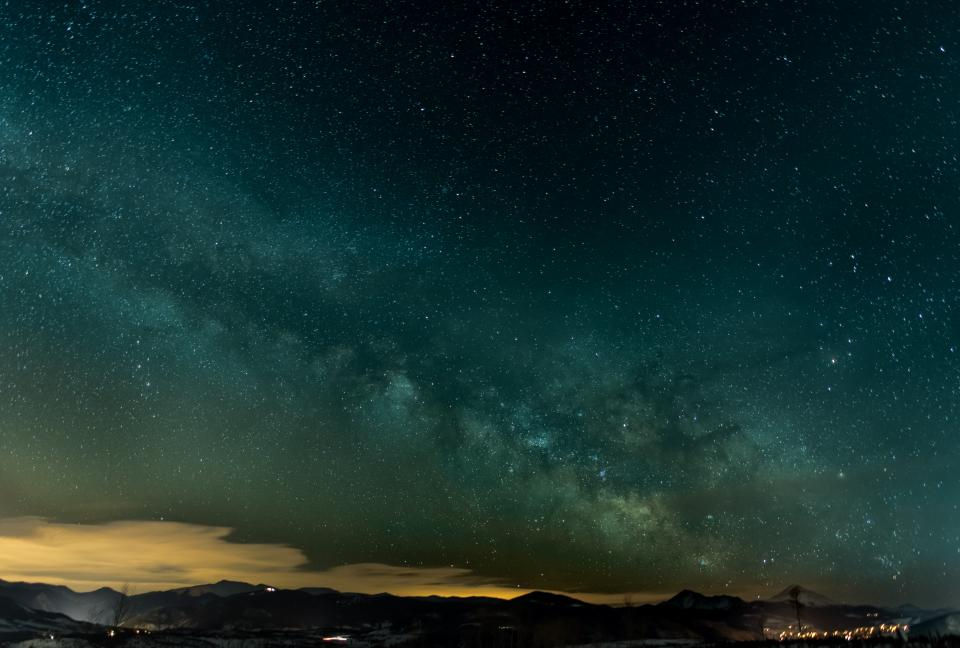 clouds sky mountain night stars dark mountain landscape view
