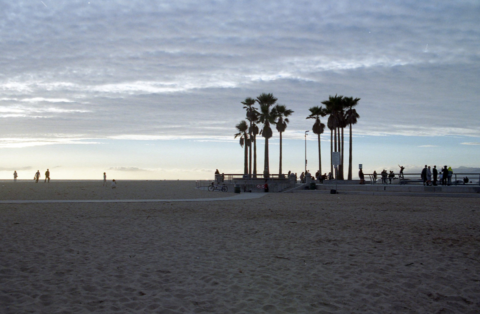 beach palm trees cloudy overcast dusk people silhouette sand coast sky california travel horizon