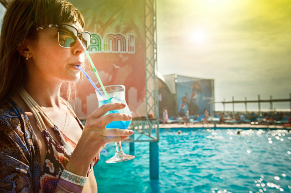 woman drinking cocktail blue sunglasses retro sunset wet female girl vacation holiday travel