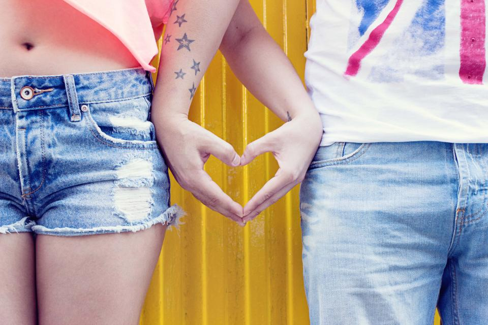 couple love people man woman heart hands tattoo hands star denim shirt sweet