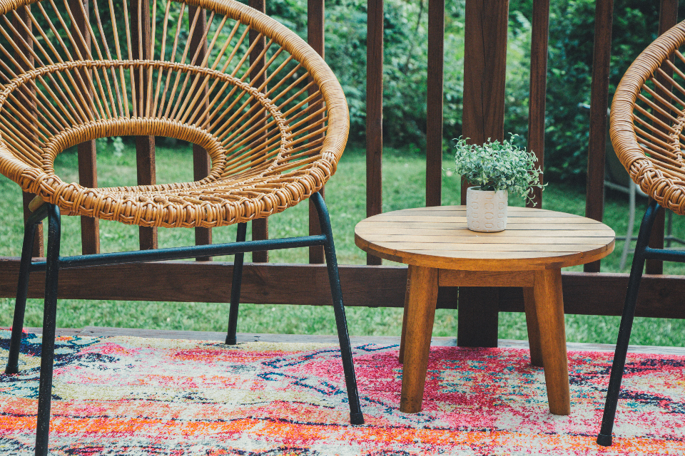 patio furniture deck table plant chair backyard porch outdoor house design contemporary seating summer wooden