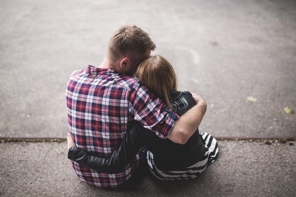 couple hugging love romance romantic family girl woman guy man people plaid family