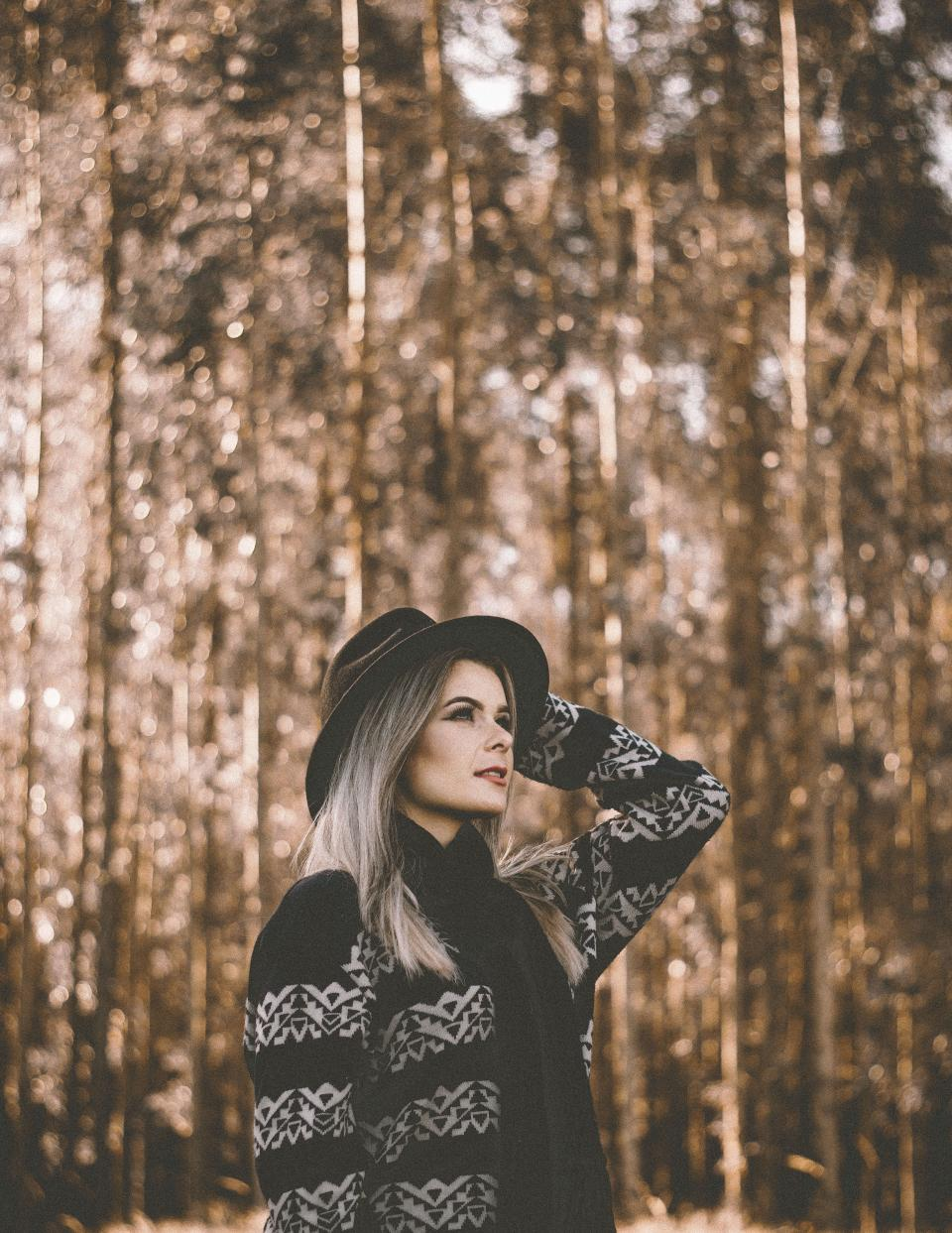 nature people woman hat blonde beauty face trees leaves woods forest travel adventure