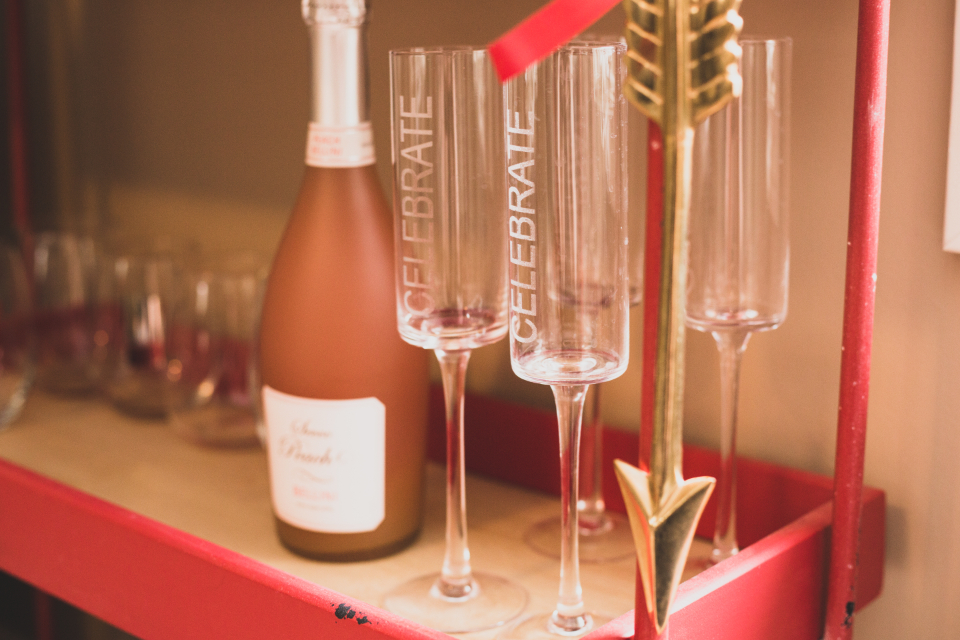 champagne bottle glass wine alcohol beverage celebration drink bubbly toast prosecco pink party