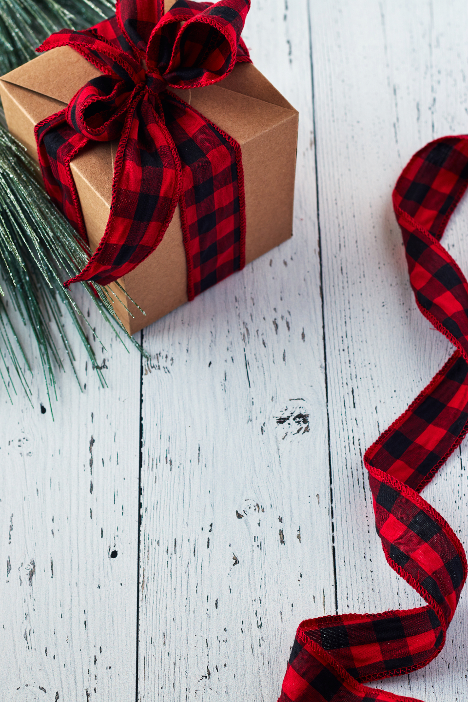 seasonal backgrounds christmas flat lay ribbon pine tree festive copyspace holiday red merry xmas background box gift rustic wooden