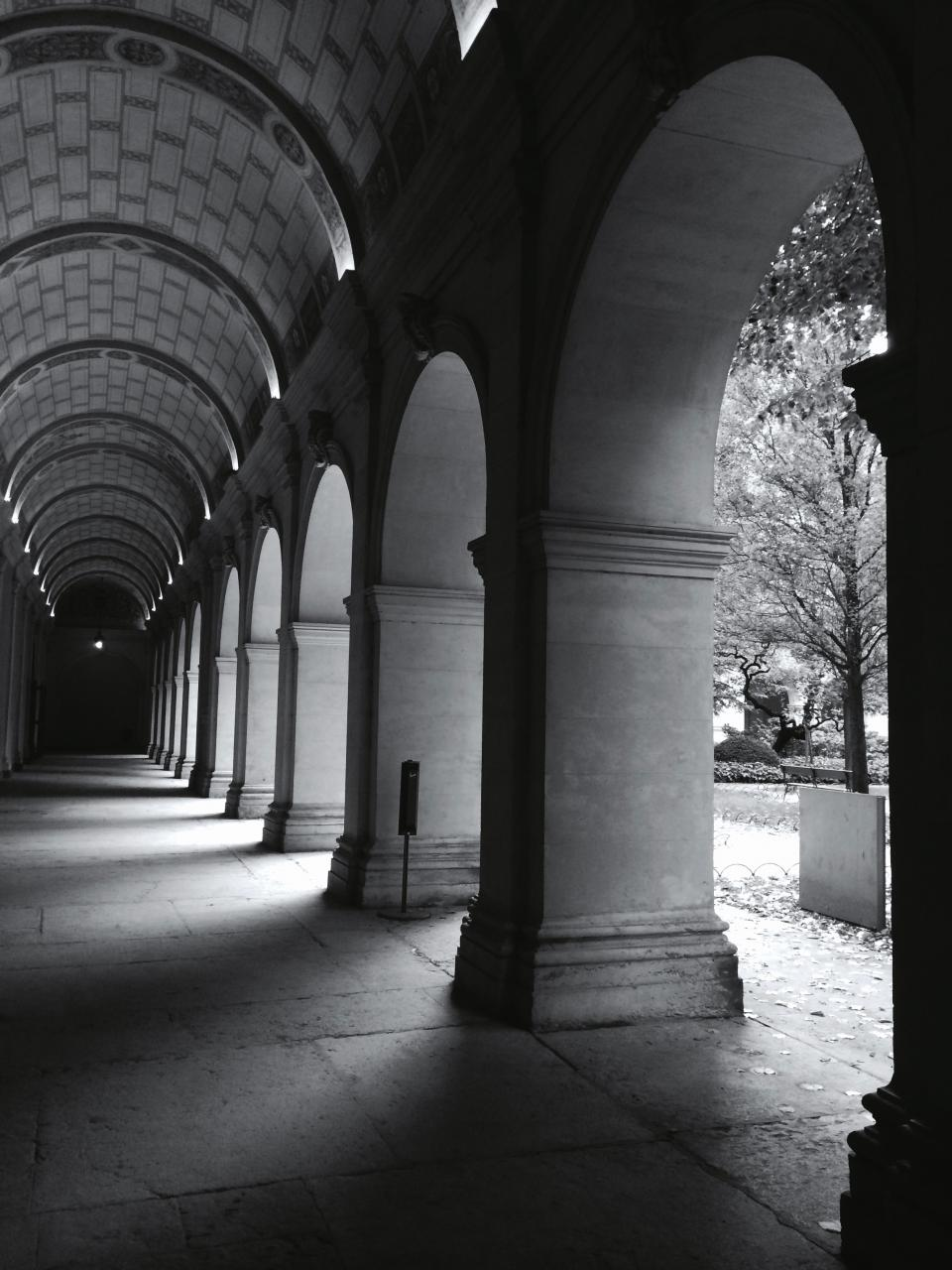 architecture buildings corridors hallways arch pillars light shadows patterns perspective black and white