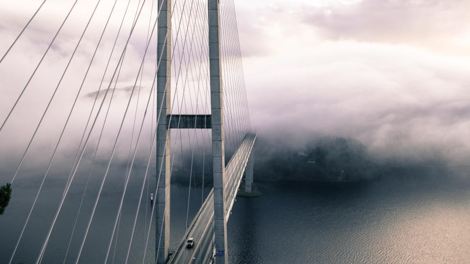 bridge architecture structure infrastructure fog car transportation vehicle water ocean sea